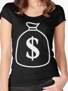 white money bag Women's Fitted Scoop T-Shirt