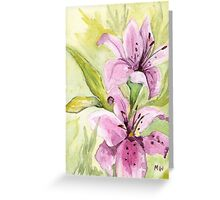 "Watercolor Painting ""Illusive Lilies I"" by  Artist Marsha Woods Greeting Card"