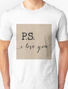 P.S. I love you in Burlap Unisex T-Shirt