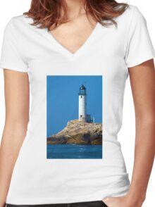 White Island Lighthouse Women's Fitted V-Neck T-Shirt