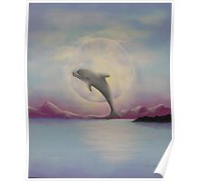 Moonlit Dolphin Poster