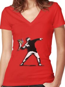 Banksy Anarchist Women's Fitted V-Neck T-Shirt