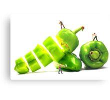 Chopping Green Peppers Metal Print