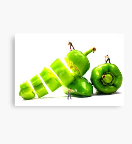 Chopping Green Peppers Canvas Print