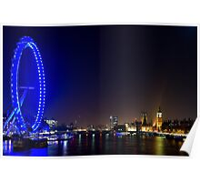 London Eye and the Houses of Parliament, England Poster