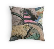 072 - HORSE AND COMPANY - DAVE EDWARDS - MIXED MEDIA - 1998 Throw Pillow