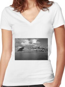 The Imposing East Cliff, Whitby Women's Fitted V-Neck T-Shirt