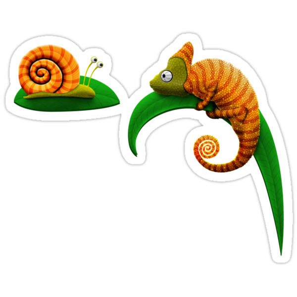 Snail and Chameleon by vladstudio