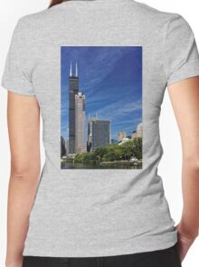 A Chicago river cruise view towards  the Willis Tower Women's Fitted V-Neck T-Shirt