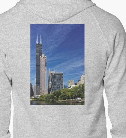 A Chicago river cruise view towards  the Willis Tower Zipped Hoodie