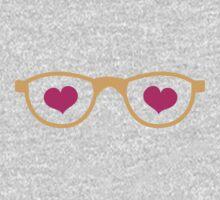 cute geeky eye glasses with love hearts Baby Tee