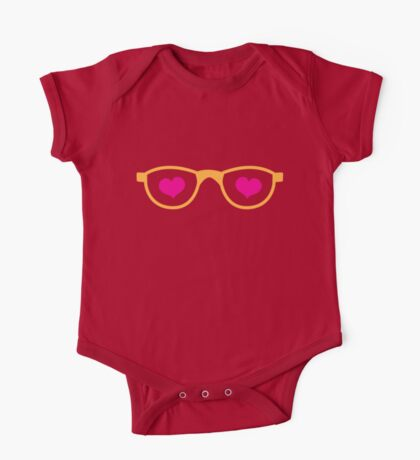 cute geeky eye glasses with love hearts One Piece - Short Sleeve