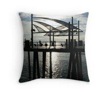section of Redondo Beach Pier, California Throw Pillow