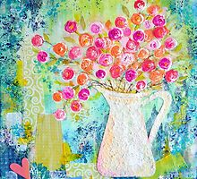 Sweetheart Roses in White Pitcher by Carla Parris