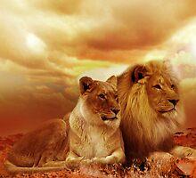 Lion Landscape Scene by inspiringwords