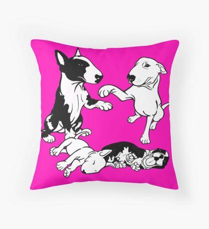 English Bull Terrier Family  Throw Pillow