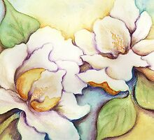 A Pair of Creamy White Southern Magnolias by Carla Parris
