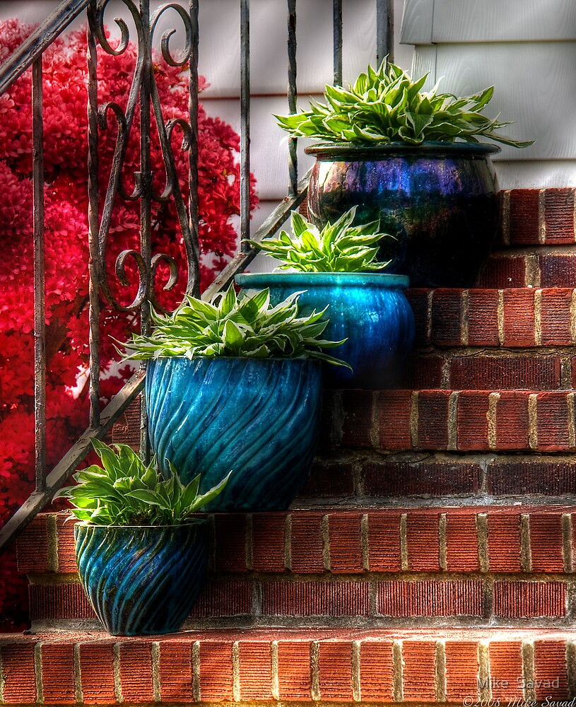 Four Blue Pots by Mike  Savad