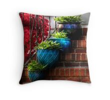 Four Blue Pots Throw Pillow