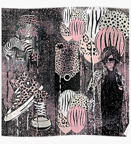 Animal Print Pale Pink Black and Gray Poster