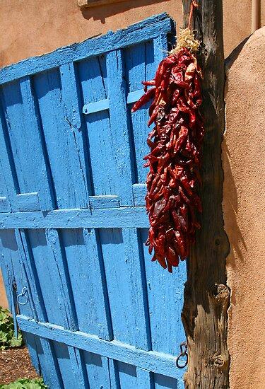 puerta azul en Taos by Patricia Montgomery