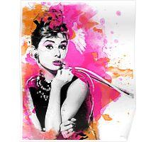 Audrey Hepburn digital watercolor Poster