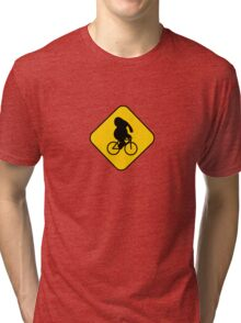 Beware of bike riding elephants Tri-blend T-Shirt