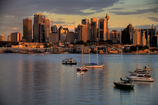Gold & Blue- Moods Of A City # 11 - The HDR Series - Sydney Harbour, Sydney Australia by Philip Johnson