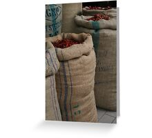 Chilli Sacks in Little India, Singapore Greeting Card