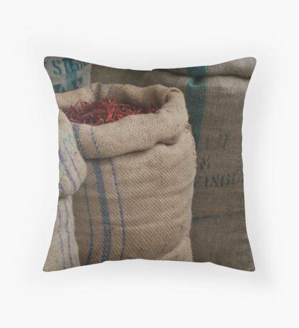 Chilli Sacks in Little India, Singapore Throw Pillow