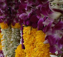 Flower Garlands in Little India, Singapore by Leigh Penfold