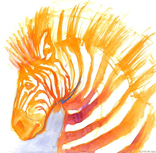 watercolour zebra by Danelle Malan