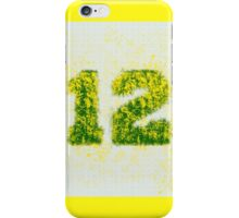 Abstract Twelve Paint Splatter - Yellow On Green iPhone Case/Skin