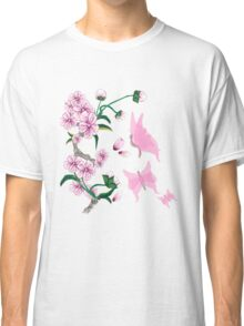 Cherry Blossoms with Pink Butterflies Classic T-Shirt