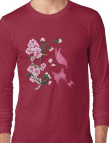Cherry Blossoms with Pink Butterflies Long Sleeve T-Shirt