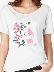 Cherry Blossoms with Pink Butterflies Women's Relaxed Fit T-Shirt