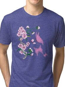 Cherry Blossoms with Pink Butterflies Tri-blend T-Shirt