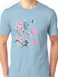 Cherry Blossoms with Pink Butterflies Unisex T-Shirt
