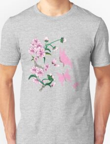 Cherry Blossoms with Pink Butterflies T-Shirt