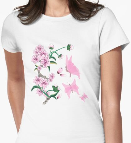 Cherry Blossoms with Pink Butterflies Womens Fitted T-Shirt