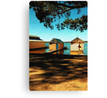 Views from the Lake II - Boathouses Canvas Print
