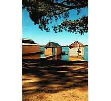 Views from the Lake II - Boathouses Photographic Print