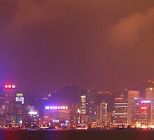 The lights of the Hong Kong skyline by Anthony Caffery