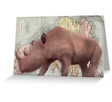 Rhino Map Design Illustration Greeting Card
