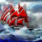 Clipper Ship Indian Queen in Rough Seas (2) - all products by Dennis Melling