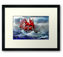 Clipper Ship Indian Queen in Rough Seas (2) - all products Framed Print