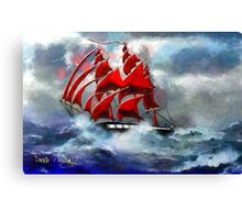 Clipper Ship Indian Queen in Rough Seas (2) - all products Canvas Print