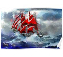 Clipper Ship Indian Queen in Rough Seas (2) - all products Poster