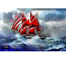 Clipper Ship Indian Queen in Rough Seas (2) - all products Photographic Print