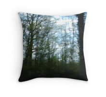 Blurred trees Throw Pillow